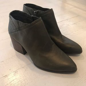 New studded leather ankle booties dark green